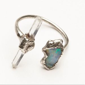NEW Free People Inner Compass Raw Stone Ring